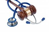 gavel and stethoscope, symbol photo for bungling doctors and error poster