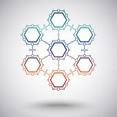 Connect seven cells protected from virus. gradient. vector graphics poster