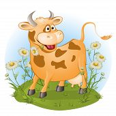 the amusing cow chews a grass. vector illustration poster