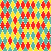 Harlequin parti-coloured seamless pattern. Color bright funny decorative vector illustration. poster