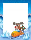 Frame with reindeer riding scooter - color illustration. poster