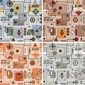 Mechanical pattern set. Color bright funny decorative vector illustration. poster