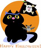 Here is a cute Black Cat with a friendly Pirate Skull Flag and flying Bat. poster