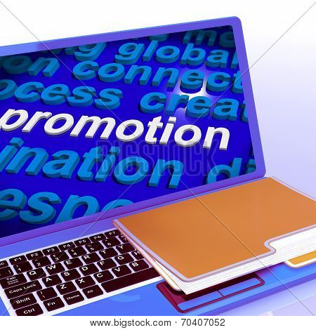Promotion Word Cloud  Laptop Shows Discount Bargain Or Mark Down