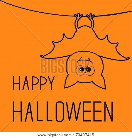 Cute contour bat. Happy Halloween card. Flat design. Vector illustration poster