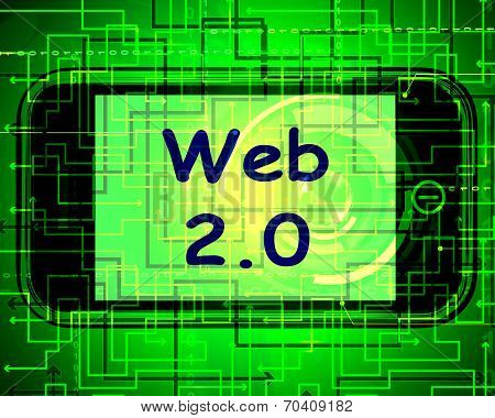 Web 2.0 On Screen Means Net Web Technology And Network