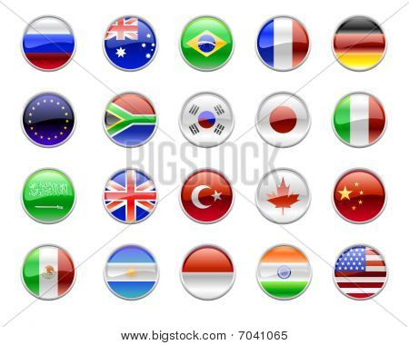 Illustration of round buttons set decorated with the flags of the world (G20). poster