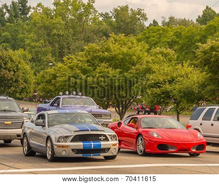 Shelby Mustang And Ferrari F 430 Berlinetta, Woodward Dream Cruise
