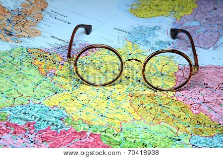 Glasses on a map of europe - Berlin