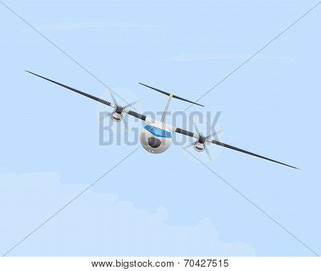 Turboprop Airplane In Flight