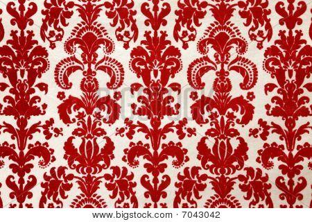 Red Flock Wallpaper Pattern