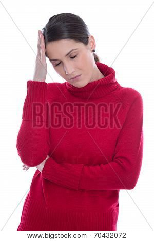 Isolated Sad And Sorrowful Young Woman With Headache Or Migraine.