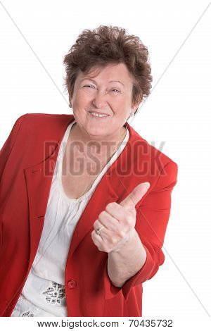 Lucky And Funny Old Woman Wearing Red Jacket - Thumbs Up.