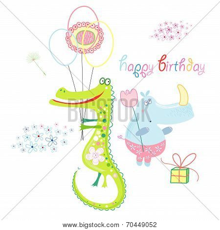 beautiful and kind crocodile and hippo Happy Birthday to you poster