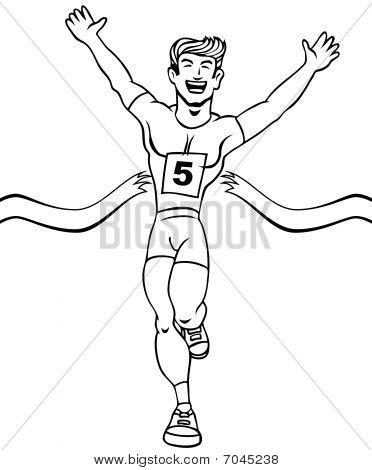 Runner Reaches Finish Line Art