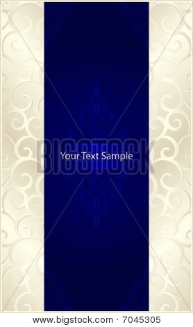 Vertical stylish template with silver beige scrolls left and right and a royal blue center with floral elements and space for our text. 7 global colors, gradients used. poster