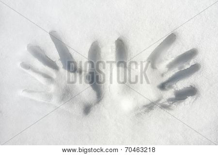 Two Hands/palms Print On Snow Surface. Closeup.