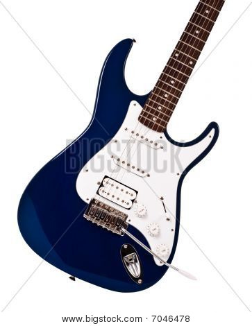 Blue Electric Guitar Closeup