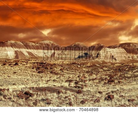 Base On Mars. Abstract Natural Design Looking Like Martian Surface.