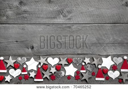 Christmas Decoration Border In White And Red On Grey Wooden Background