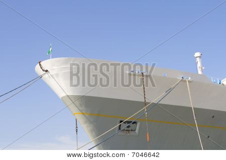 Front View Of Big Cruiseliner In Harbor