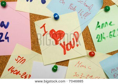 Love Message Pinned On Cork Board