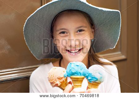 Sweet Colored Dream! Happy Smilin Girl With Many Ice-cream.