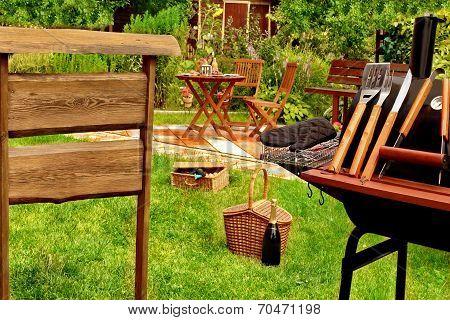 Bbq Grill Scene In The Backyard