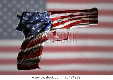 Handgun and American flag composite