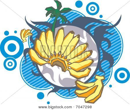 palm and banana on a decorative background poster