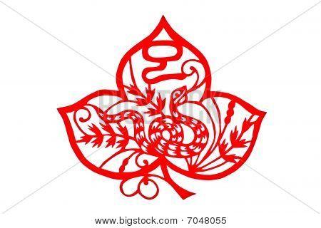 Chinese folk paper-cut - Zodiac Snake