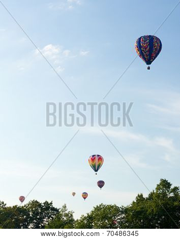 Colorful Hot Air Balloons Launch At The Annual Metamora Country Days And Hot Air Balloon Festival.