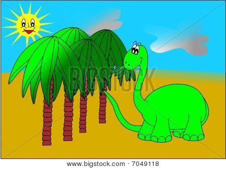 Dinosaur and palm trees