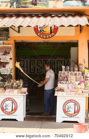 Making Melcocha in Banos, Ecuador