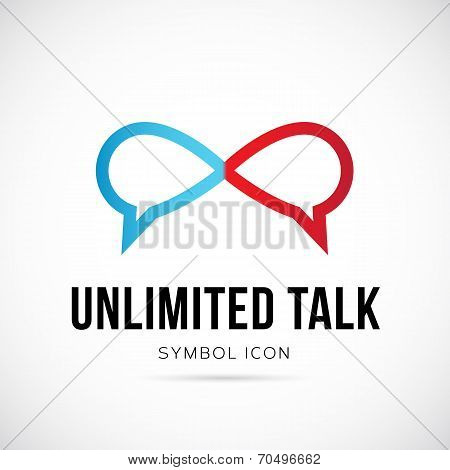 Unlimited Talk Vector Concept Symbol Icon or Logo Template