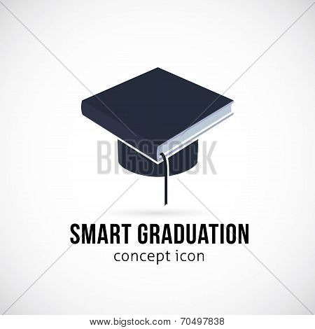 Smart Graduation Vector Concept Icon Symbol or Logo Template