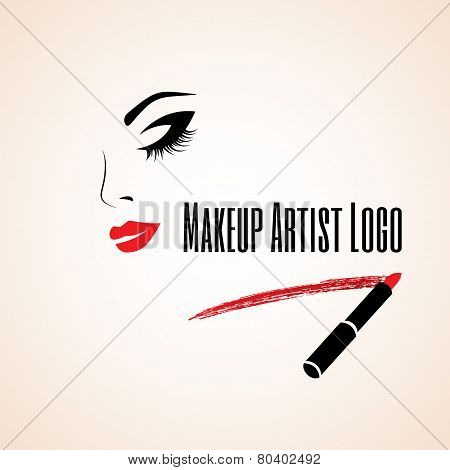Abstract woman face with closed eye. Trace of lipstick. Makeup artist logo.