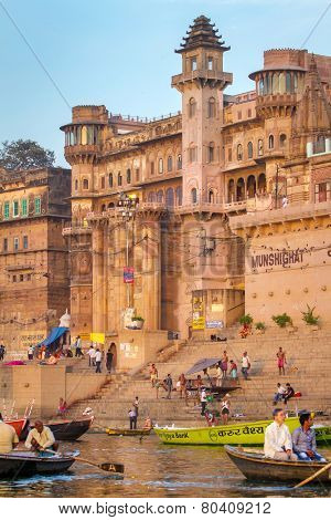 VARANASI, INDIA - MARCH 23: Munshighat ghat on the banks of Ganges river in holy city of Varanasi on March 23, 2013 in Varanasi, Uttar Pradesh, India.