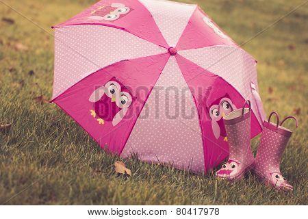 Pink Umbrella and Boots