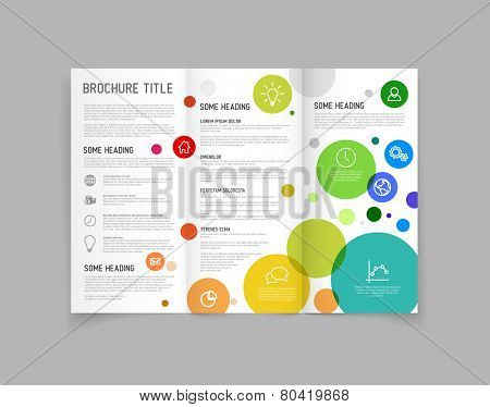 Modern Vector three fold brochure / leaflet / flyer design template with circles