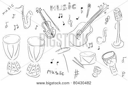 Sketch Music Instruments set - hand drawn in vector