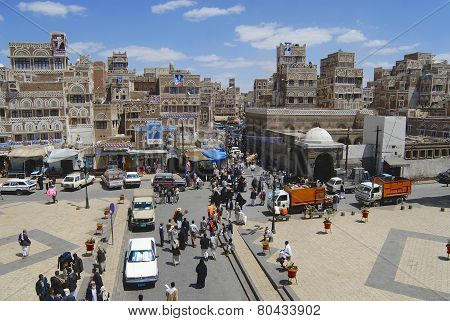 Busy street of the old Sanaa city, Yemen.