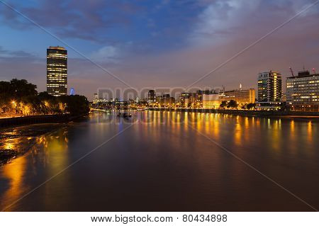 Thames River In London At Night