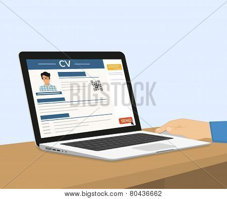 Man is sending his CV via e-mail. Vector illustration with laptop poster