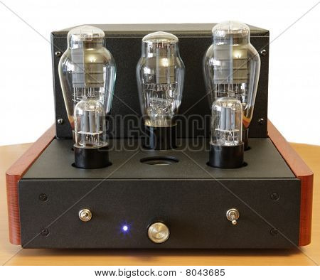 vacuum tube amplifier with 300B triodes isolated poster