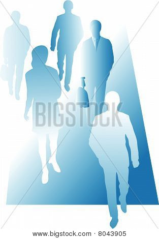 Group of business persons walking forward