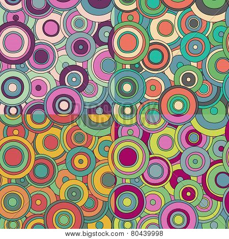 set of 4 bright psychedelic circles pattern