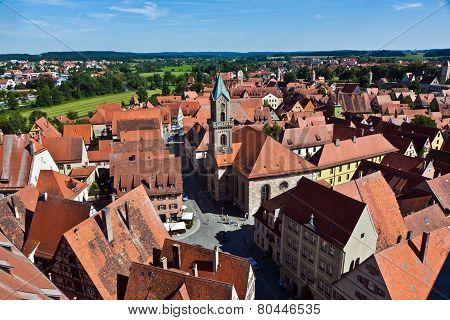 DINKELSBUEHL, GERMANY - MAY 3, 2013: skyline of  old medieval city Dinkelsbuehl in Germany