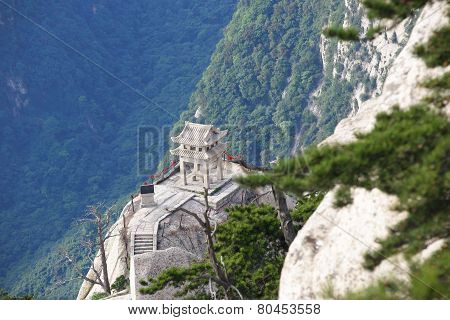 chess pavilion built on the stone cliff at mountain hua,china