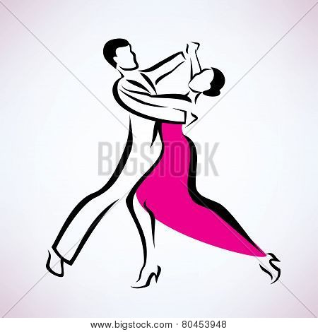 ballroom Dancing Couple, Outlined Vector Sketch